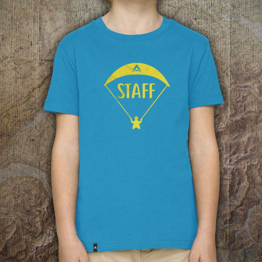 """Paragliding T-Shirt für Kids: """"Staff"""" - Azur"""